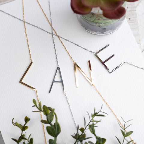 Large Letter Necklace: available in silver