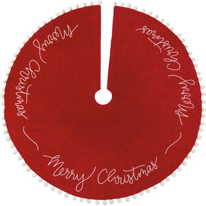 Large Merry Christmas Velvet Tree Skirt