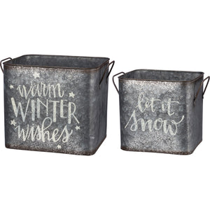 Holiday Metal Bin Set: Warm Winter Wishes and Let it Snow