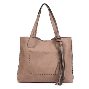 Gloria: Rosewood Whipstitch Two in One Monogrammable Tassel Tote
