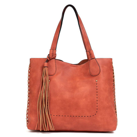 Gloria: Orange Whipstitch Two in One Monogrammable Tassel Tote