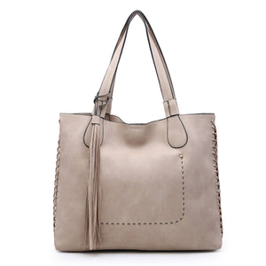 Gloria: Beige Whipstitch Two in One Monogrammable Tassel Tote