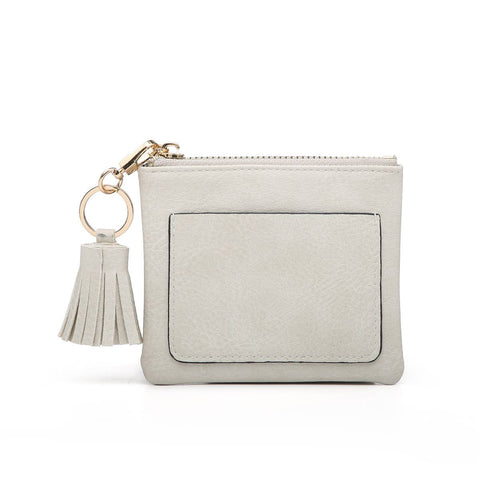 Charcoal Coin Pouch w/ Tassel Zipper Pull & ID holder