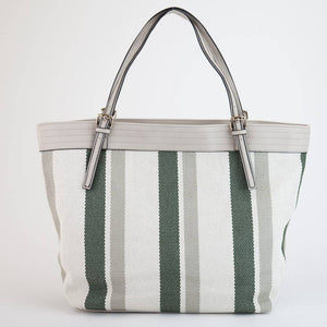 Green and Grey Canvas Textured Striped Tote Bag