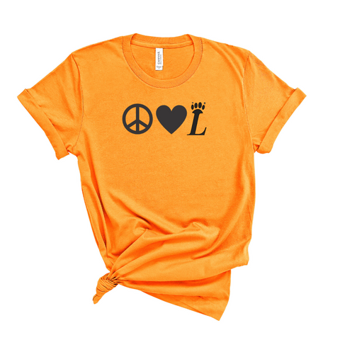 Peace Love Tiger Paw Loveland Orange Tee