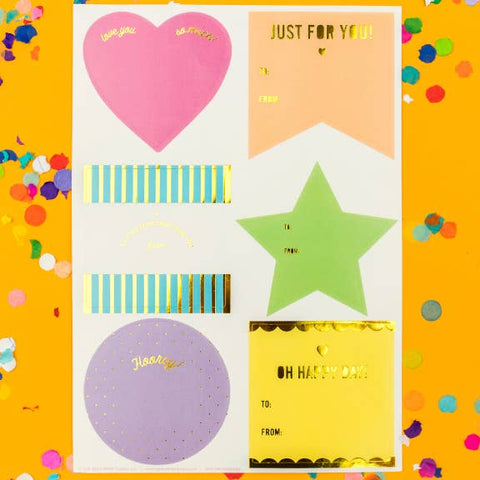 Taylor Elliott Designs - Neon Gift Tag Stickers, 48 stickers