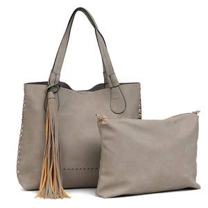 Gloria: Light Stone Whipstitch Two in One Monogrammable Tassel Tote