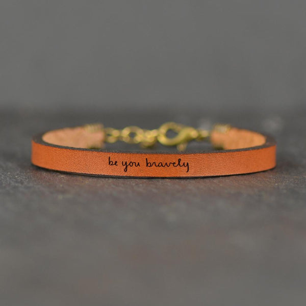 Laurel Denise - Be You Bravely - Leather Bracelet Jewelry - Addt Colors
