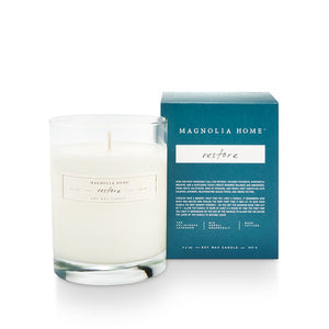 Magnolia Home Boxed Glass Candle- Restore