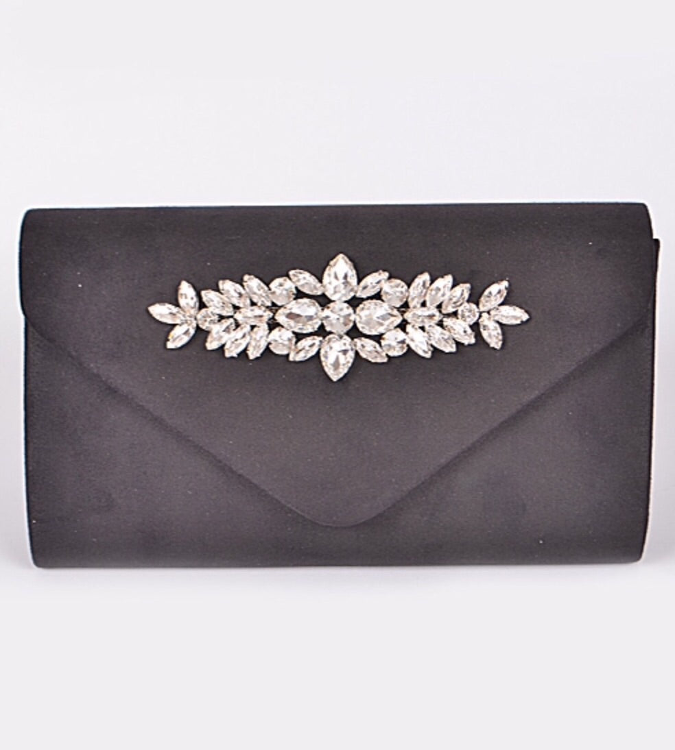 Rhinestone Sueded Clutch in Black or Beige