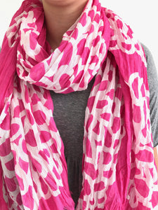 See Design Cotton Scarf- Clouds Fuschia