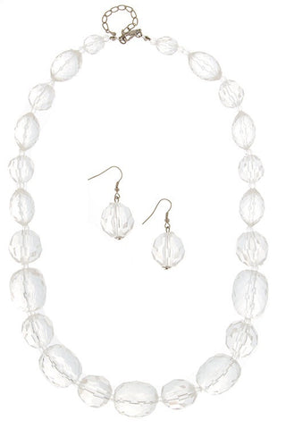 The Fiona Necklace, Faceted Chunky Bead Necklace and Earring Set