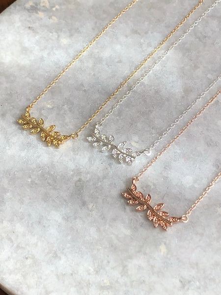 Fancy Branch Necklace: available in silver, gold, and rose gold.
