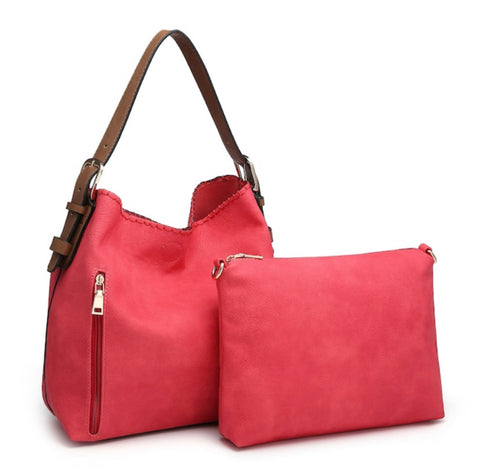 Alexa 2-in-1 Hobo Bag - Hot Pink