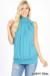 Lily Sleeveless Hugh Neck Pleated Top in Dusty Teal