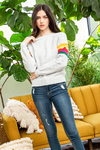 Rainbow Sleeve Raglan Sweater