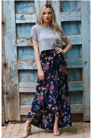 Grace Floral Wrap Skirt in Navy