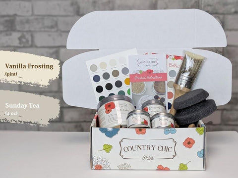 Vanilla Frosting(16oz) & Sunday Tea(4oz) - Country Chic Paint - Large Starter Kit