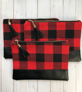 Buffalo Check Zip Clutch with Tassel