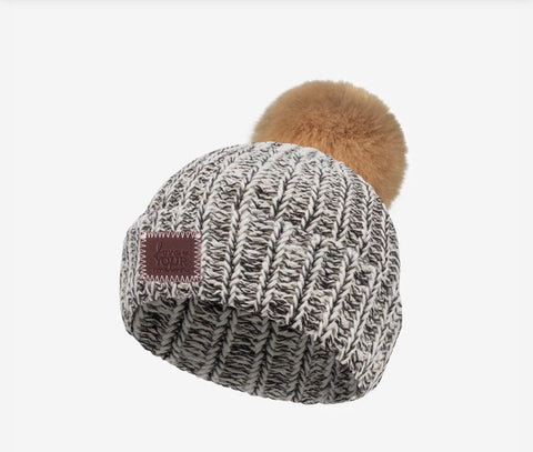 Love Your Melon Black Speckled BABY Pom Beanie