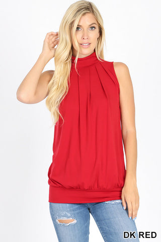Lily Sleeveless High Neck Pleated Top in Red