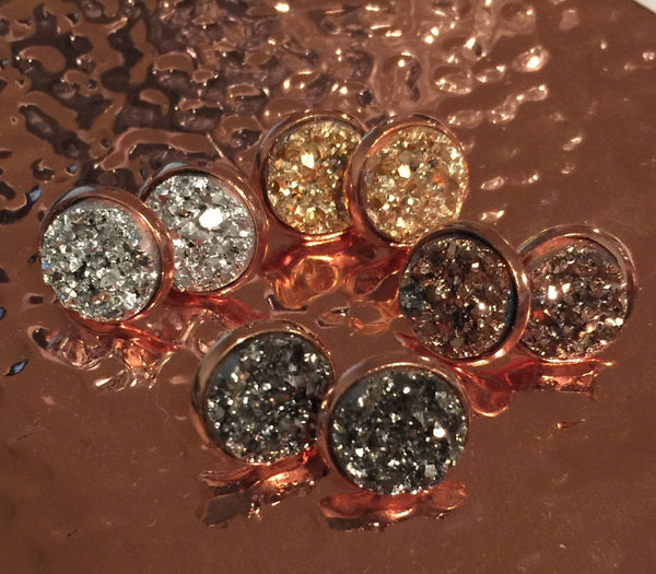 Shimmer Druzy Studs in Rose Gold Tone Setting
