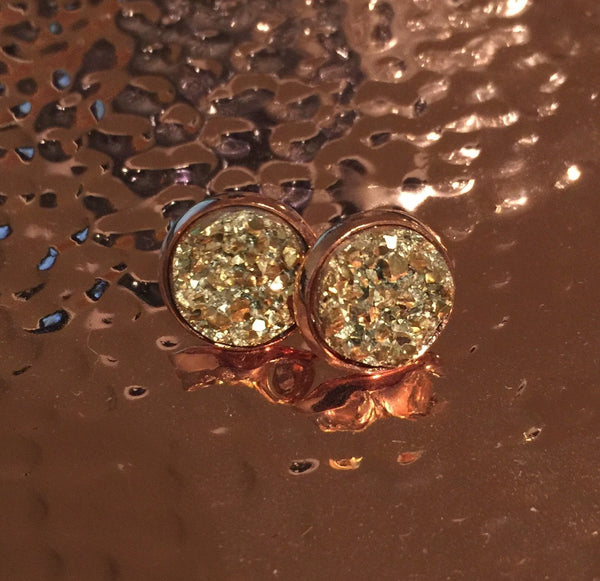 Shimmer Druzy Studs in Rose Gold Tone Setting: Immediate Shipping