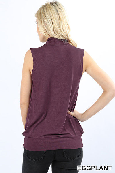 Lily Sleeveless High Neck Pleated Top- Burgundy