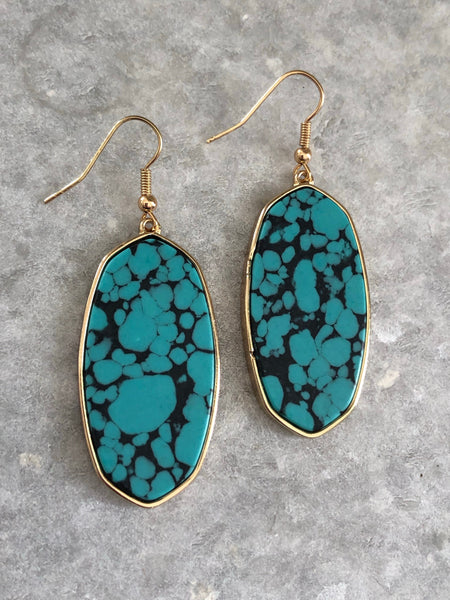 Marbled Turquoise Slab Earrings