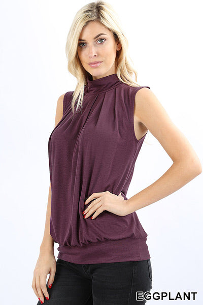 Lily Sleeveless High Neck Pleated Top in Eggplant
