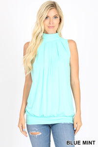Lily Sleeveless High Neck Pleated Top in Blue Mint