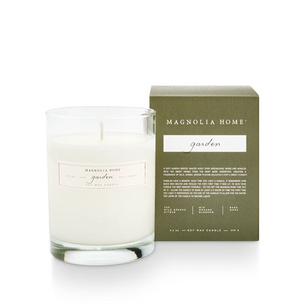 Magnolia Home Boxed Glass Candle- Garden