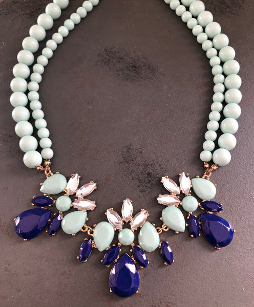 Monique Beaded Rhinestone Statement Necklace