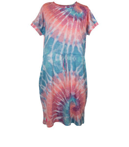 Simply Southern Coastal Tie Dye Dress in Swirl