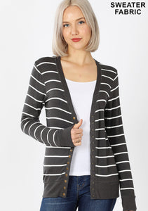 Mia Striped Snap Cardi in Ash Grey