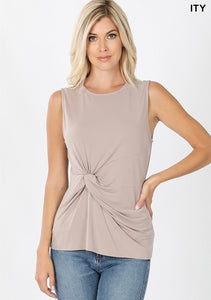 Knot Front Sleeveless Top in Taupe