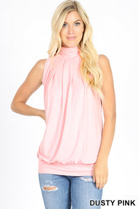 Lily Sleeveless High Neck Pleated Top in Dusty Pink