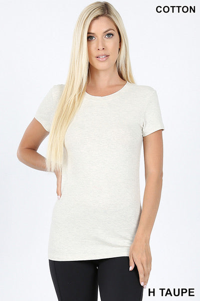 Heather Basic Short Sleeve Tee in Taupe