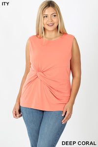 Knot Front Sleeveless Top in Deep Coral