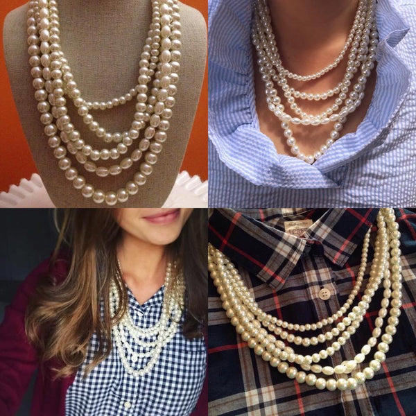 The Grace Multi Strand Pearl Beaded Necklace