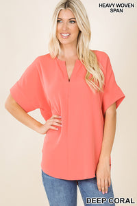 The Ava Split Neck Short Sleeve Top in Coral