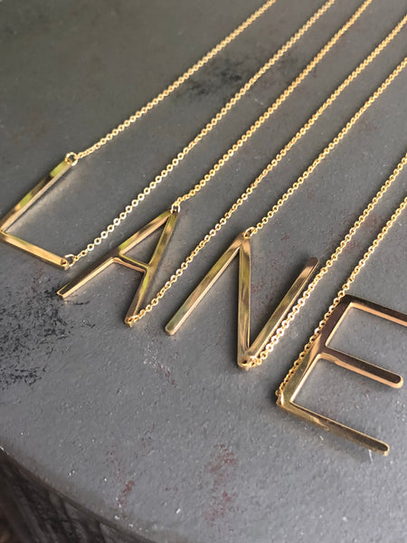 Large Letter Necklace: available in gold