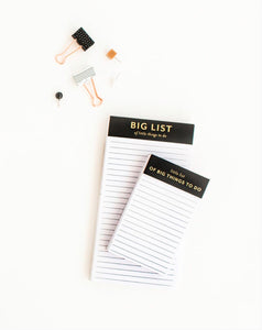 Big & Little Lists: Set of 2 Notepads
