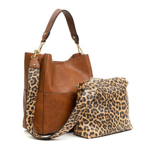 Animal Print Guitar Strap Bucket Bag in Brown