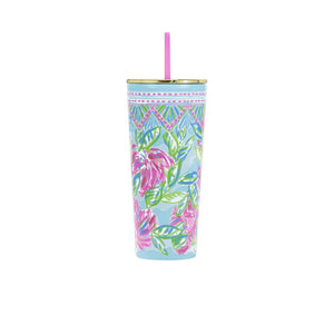 Lilly Pulitzer Tumbler With A Straw in Totally Blossom