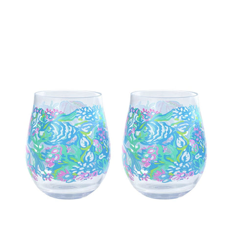 Lilly Pulitzer Acrylic Wine Glass Set - Aqua La Vista