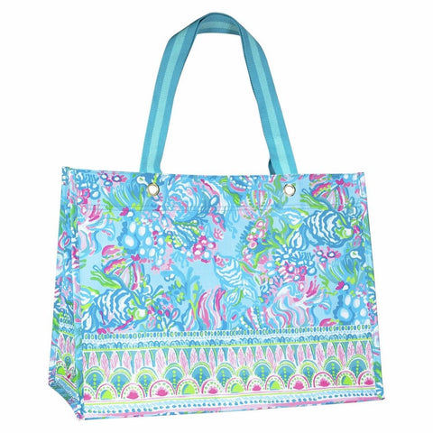 Lilly Pulitzer XL Market Tote in Aqua La Vista