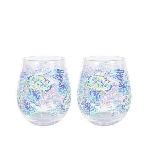 Lilly Pulitzer Acrylic Wine Glass Set - Shell of a Party