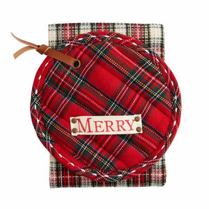 Merry Red Plaid Pot Holder & Towel Set