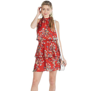 Pacey Flounce Dress in Red Petal